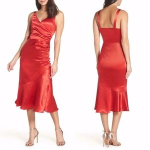 NEW Chelsea28 RED Satin RUCHED COCKTAIL Midi DRESS